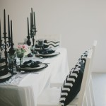 black and white tablescape blovelyevents.com