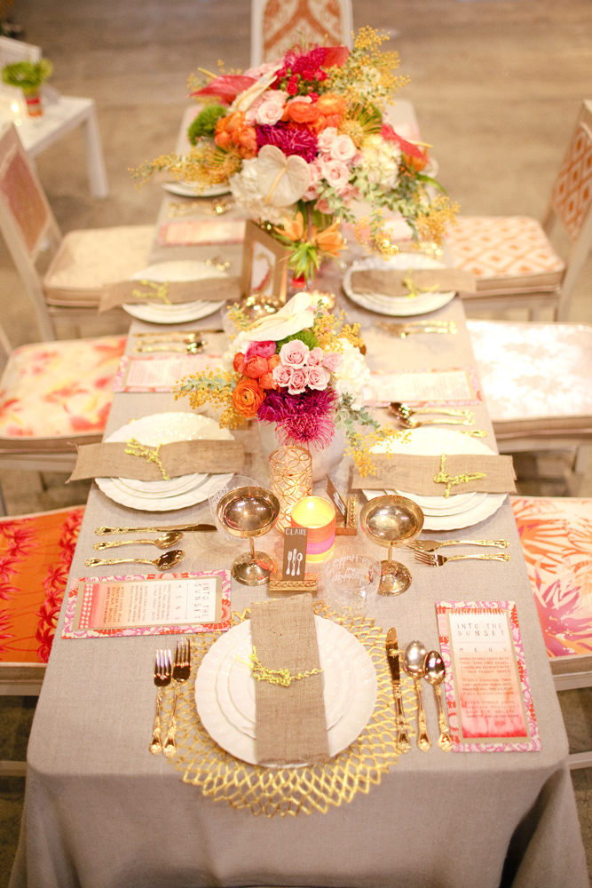 Orange And Pink Wedding Table Decorations Photograph Orang