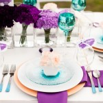 Purple and teal table setting