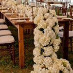 All White hydrangea lush runner