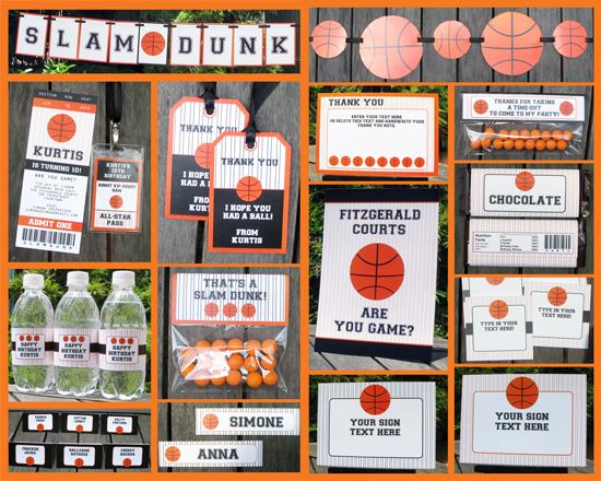 Basketball party printable set