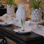 Eggs and tulips decor for Easter Table