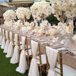 champagne, taupe and white wedding tablescape