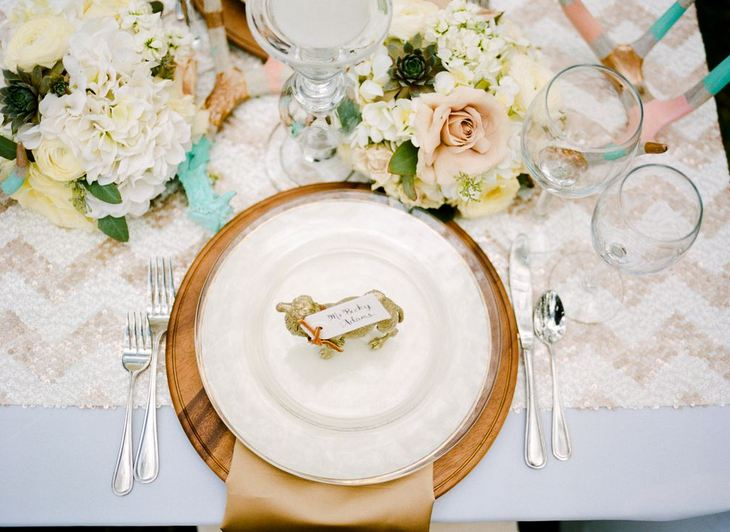 rustic glam wedding ideas, place setting - b. lovely events