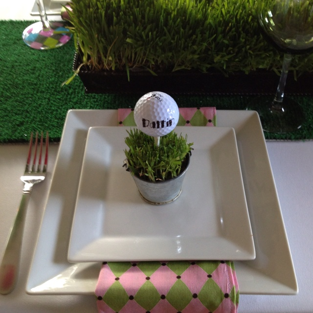 Golf Ball Place Card At Golf Party B Lovely Events