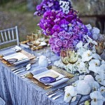 Purple ombre centerpiece and elegant tablescape