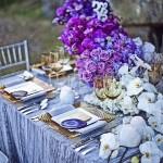 Purple ombre centerpiece and elegant tablescape