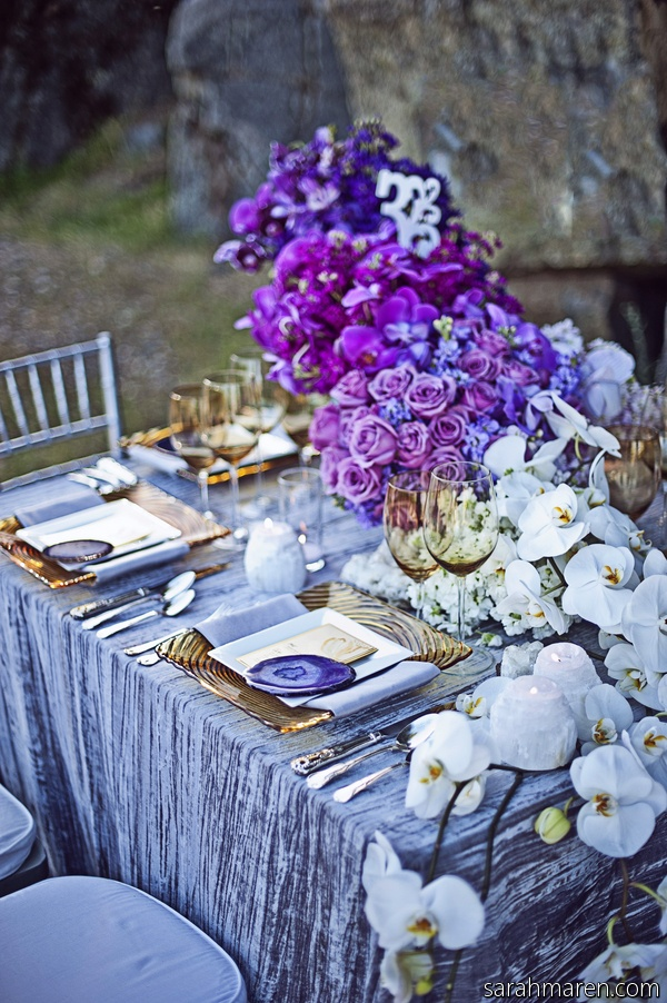 Purple ombre centerpiece and elegant tablescape b