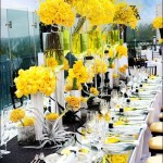 wedding tablescape-modern, gorgeous yellow centerpieces