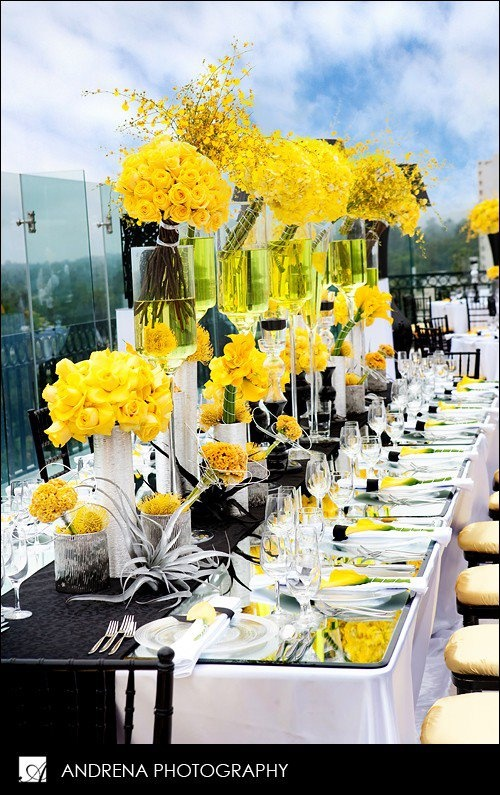Wedding Tablescape Modern Gorgeous Yellow Centerpieces
