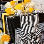 Whimsical striped black and yellow tablescape