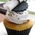 diploma topped cupcakes for grad party