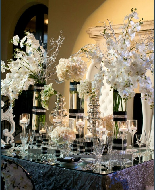 gorgeous black, white and silver elegant tablescape - b. lovely events