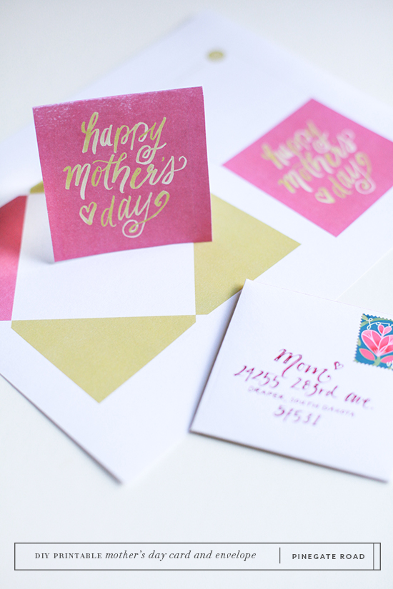 Mothers Day card and envelope printable