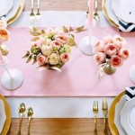 pink, gold and chevron tablescape