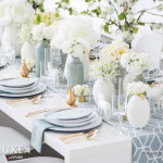 fresh and airy wedding tablescape with some modern twists