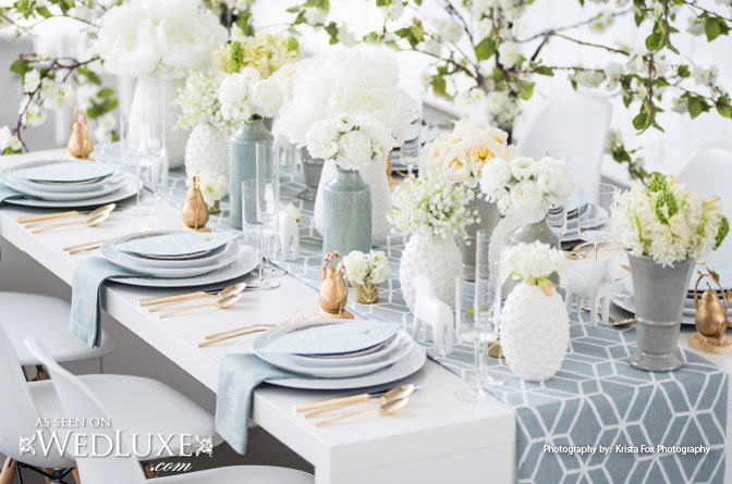fresh and airy wedding tablescape with some modern twists - B. Lovely Events