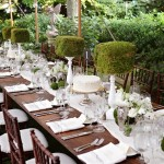 garden moss centerpiece green and white tablescape