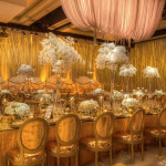 Gold and white wedding with opulent decor and fabulous orchid centerpieces