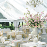 pink, silver and white beautiful centerpiece and tent