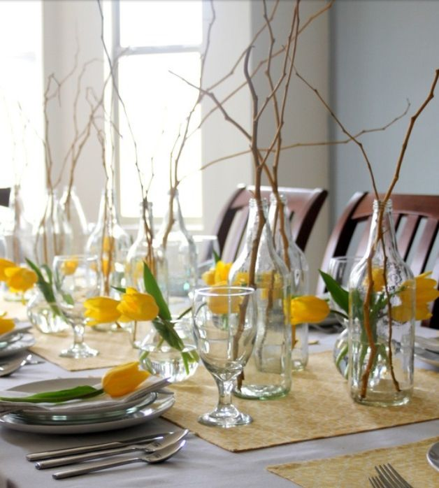 Simple and easy rustic spring centerpieces tablescape