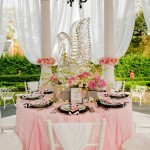 swan lake themed tablescape with pinks and blacks