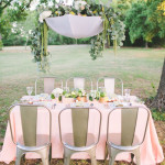 urban chic pink, silver and gold tablescape