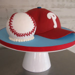 Adore this baseball hat and ball cake!