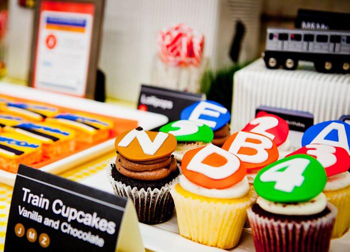 Amazing Subway train cupcakes for a boys birthday