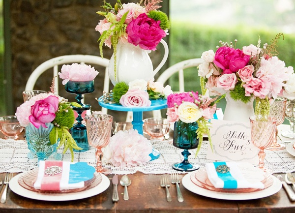 Spring Vintage Wedding Ideas: A Festive Pink And Blue Wedding Tablescape