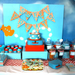 Blue and orange airplane themed party-too cute!