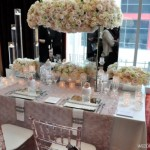 pink silver luxe tablescape mirrored vase tall centerpiece
