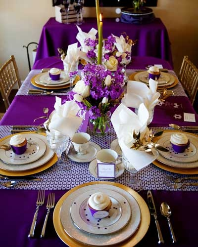 Black And Purple Wedding Ideas: Purple And Gold Dinner Party Tablescape- B. Lovely Events