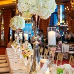Tall beautiful silver vases with lovely hydrangea arrangement!