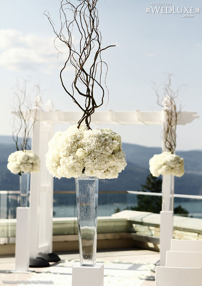All White Hydrangea and branch ceremony flowers