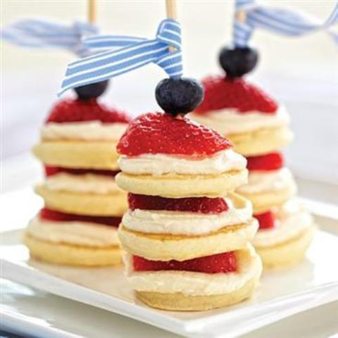 Berries and cream pancake skewers for brunch