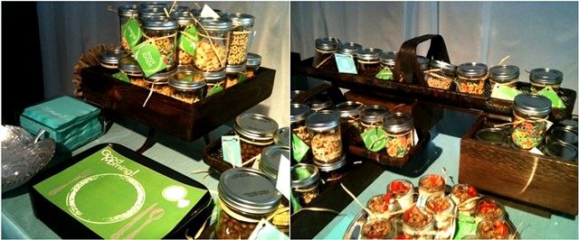 Cute cereal bar with mason jars full of cereal!