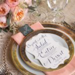 Gold and peach place setting