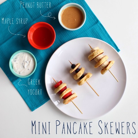 Mini pancake skewers for a brunch-love this!
