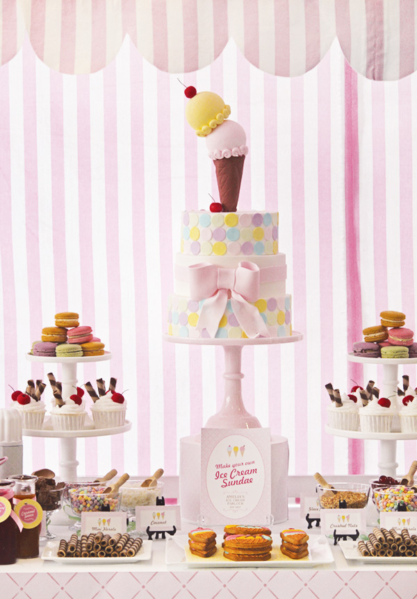 Pink themed and super cute ice cream party