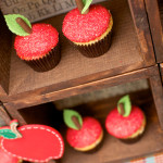 Apple cupcakes and super cute diaply for back to school party