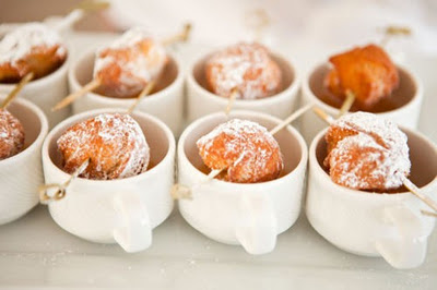 mini donuts and coffee.-great for a wedding or brunch