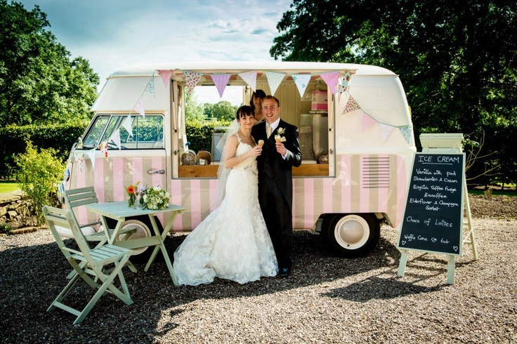 wedding ice cream truck-love the pink stripes!