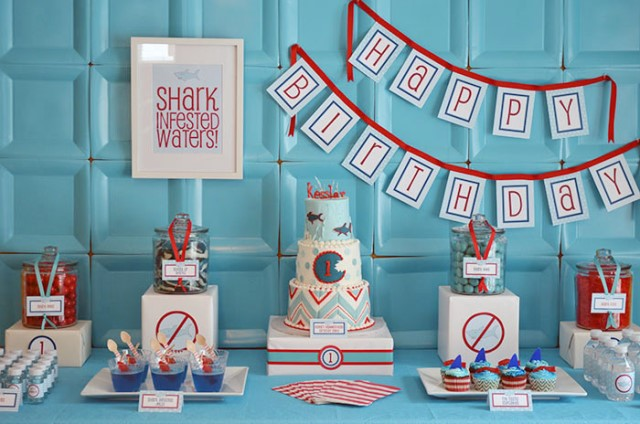 Shark Themed Birthday Party And Red Themed Shark Party