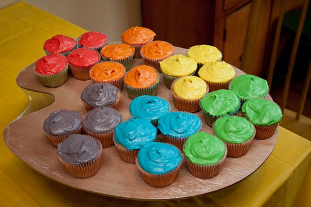 Colored Art Palette Cupcakes!