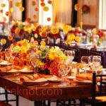 Bright orange and yellow fall tablescape
