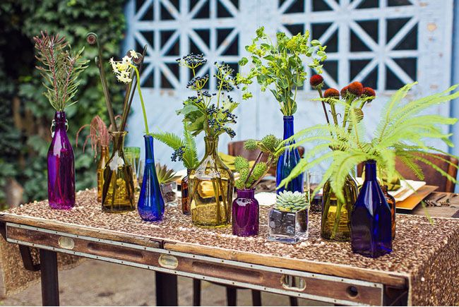 Colored Glass vases for wedding centerpieces