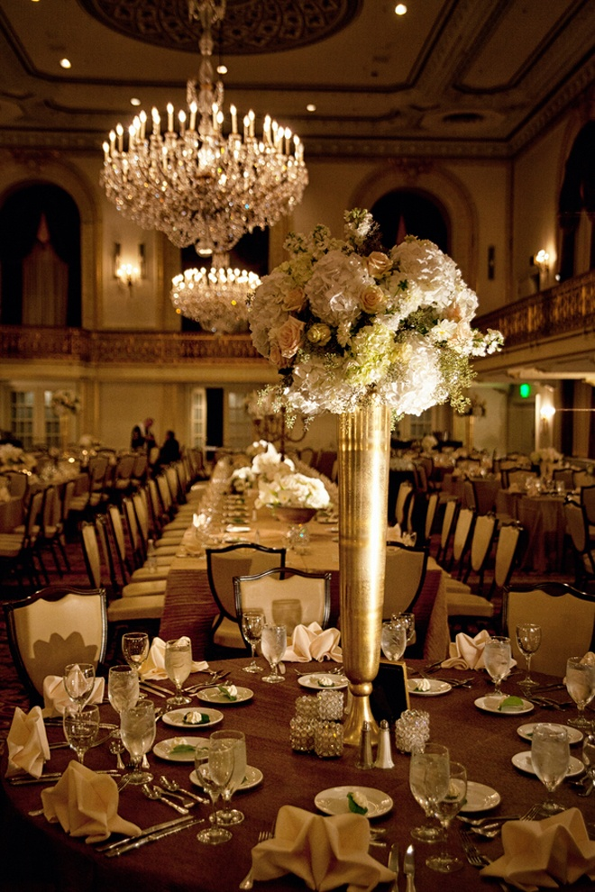 Gold Vintage tall wedding centerpiece vase - B. Lovely Events