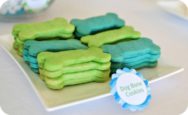 Green and Blue Dog Birthday Bone Cookies