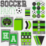 Green and black soccer party printable